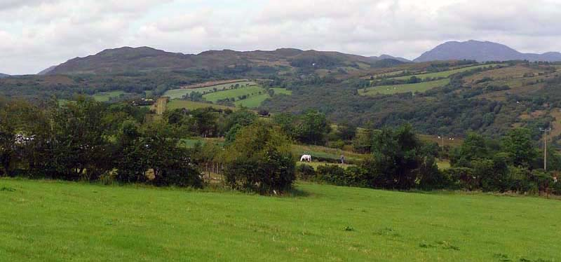 The View from Mountain Lodge cottage over the surrounding landscape.